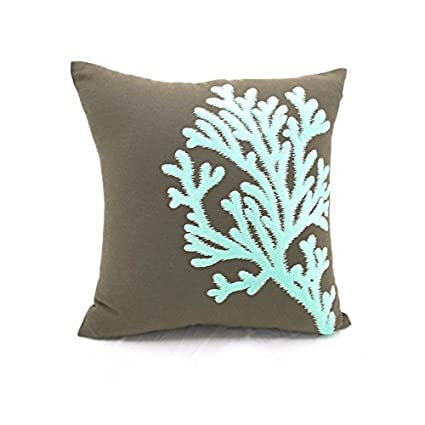 Amazon.com: KainKain Taupe Brown Turquoise Pillow Cover ...