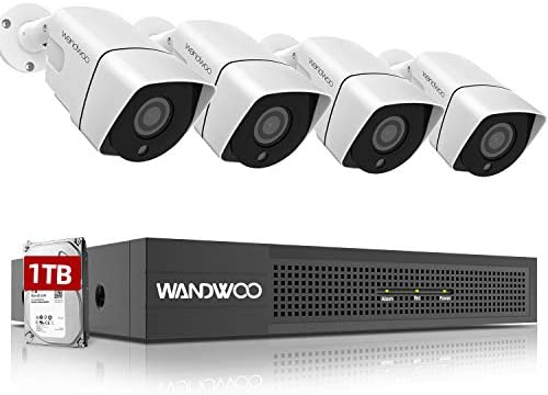 8CH PoE Security Camera System,Wandwoo 4Pcs Wired Outdoor 1440P PoE IP Cameras 5MP 4MP Supported 8 Channel NVR Video Surveillance System with 1TB Hard Drive,Night Vision,Free App for Mobile
