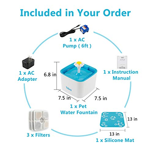 Veken Pet Fountain, 84oz/2.5L Automatic Cat Water Fountain Dog Water Dispenser with 3 Replacement Filters & 1 Silicone Mat for Cats, Dogs, Multiple Pets 7