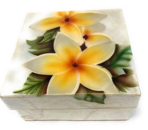Kubla Craft Yellow Plumeria Blossoms Capiz Shell Keepsake Box, 4 Inches Square