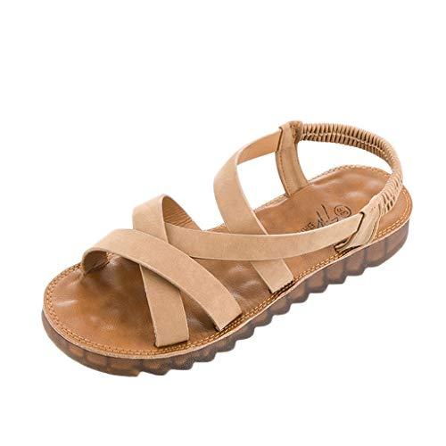 (Caopixx Womens Flat Gladiator Sandals Ankle Wrap Strappy Buckle Thong Flip Flops Sandal)