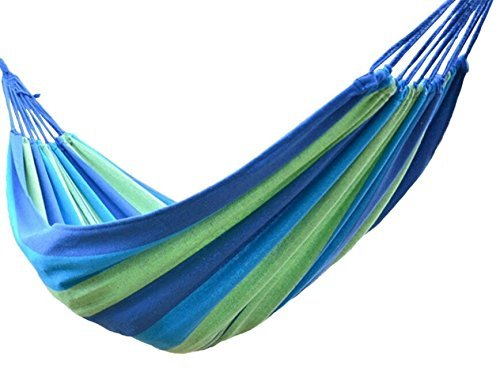 Price comparison product image Buffalo Double Wide Hammock Cotton Fabric Travel Camping Hammock 2 Person 450lbs Blue/green/dark Blue