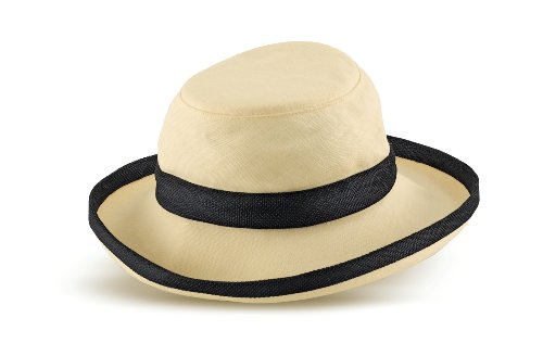 Tilley Womens TH8 Hemp 3 Inch Brim UPF 50+ Hat, Medium, Natural Hemp w/Black Band & Piping