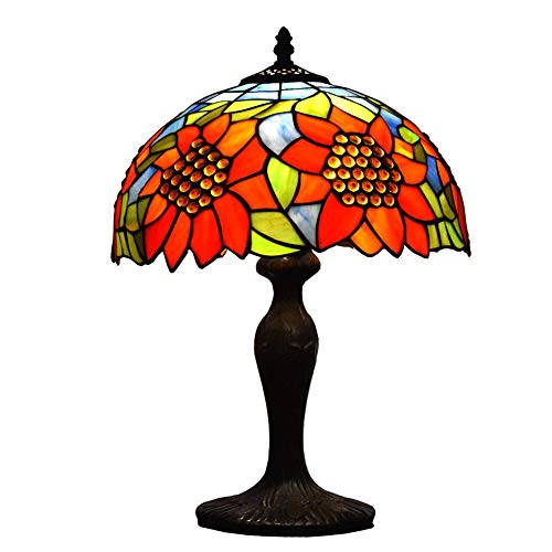Tiffany Style Lamps Sunflower Table Desk Light 18 Inches Tall Stained Glass 12 Inches Wide Lamp Shade Vintage Antique Accent Lamp for Living Bedside Coffee Room College Dorm (Sunflower Tiffany Lamp)