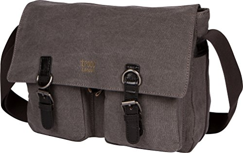 Troop London Canvas Messenger Bag Fits Up To 14 Inch Laptop Size Medium TRP0210 (3 - Black) (London Troop)