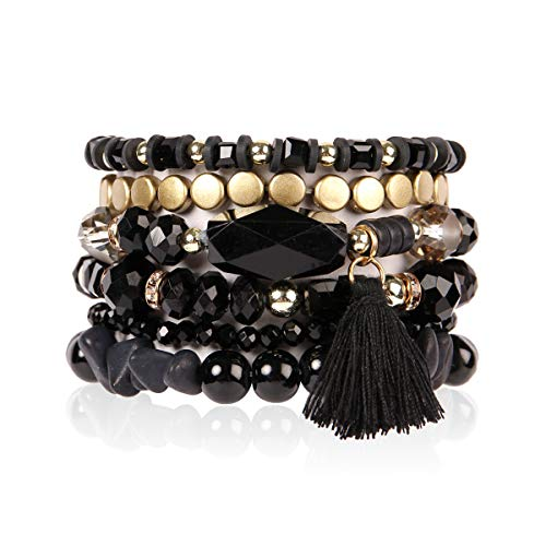 - RIAH FASHION Bead Multi Layer Versatile Statement Bracelets - Stackable Beaded Strand Stretch Bangles Sparkly Crystal, Tassel Charm (Coin Bead/Tassel - Black)