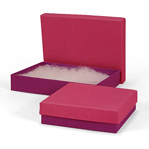 - Cerise and Plum Cardboard Jewelry Boxes | Quantity: 100 | Width: 3 3/4