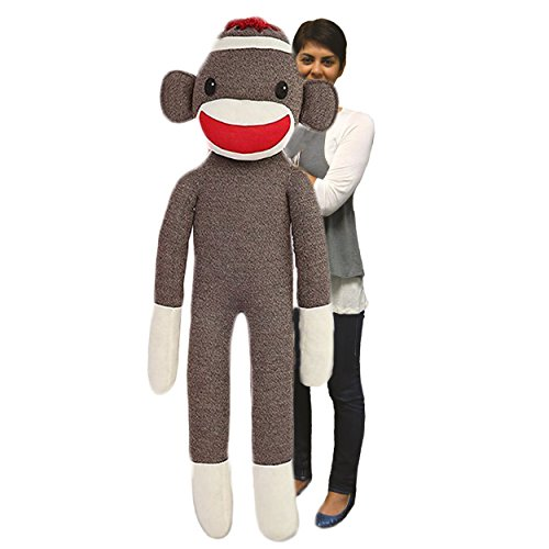 Jumbo Monkey - Plushland Giant Sock Monkey Stuffed Animal - Life Size Huge 72 Inches, Soft Polyester Filling