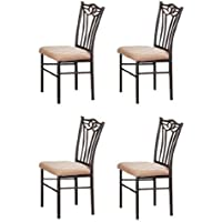 4 Black Metal Dining Chairs by Poundex