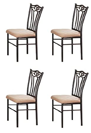Amazon com 4 Black Metal Dining Chairs by Poundex Chairs