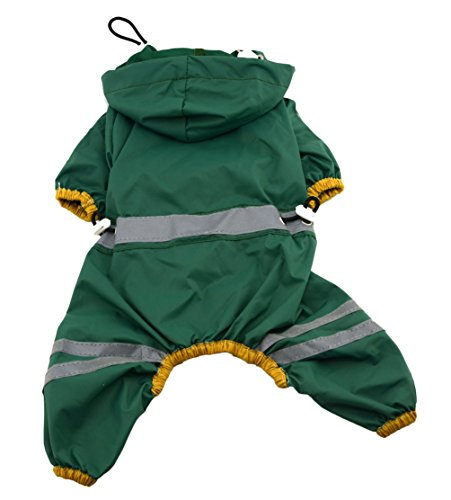 [Uniquorn Waterproof Pet Hoodie Jumpsuit Lightweight Rain Jacket Poncho with Strip Reflective Raincoat Green] (Dry Bowser Costume)