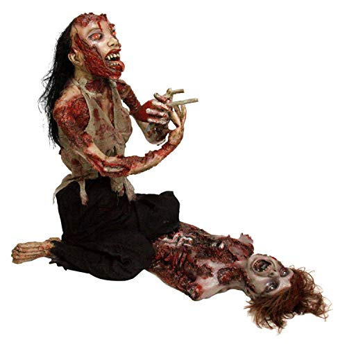 Halloween Haunters Life-Size Scary Zombie Ghoul Mutilated Woman Eating Heart Prop Decoration - Thick Rubber Latex Body, Organs and Bloody Corpse Torso - Battery Operated Eyes
