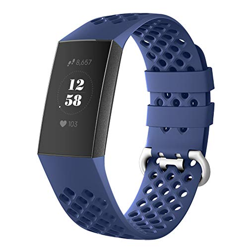 DEKER Sport Bands Compatible Fitbit Charge 3 Bands Charge 3 SE Fitness Tracker Women Men, Breathable Holes Silicone Smart Watch Strap Small Large Accessories Wristbands (Navy, Medium)