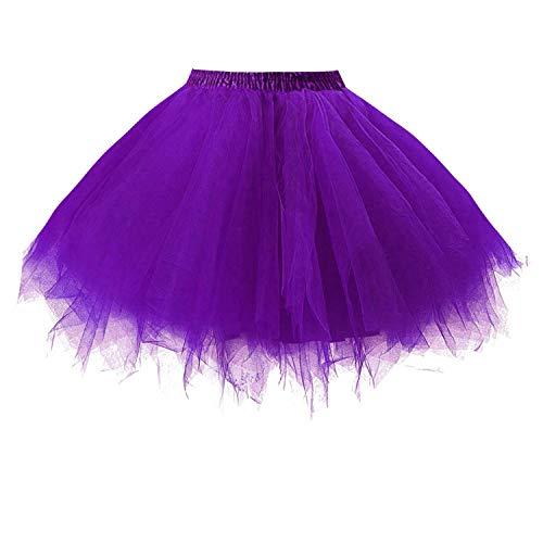 (Dresstore Women's Short Vintage Petticoat Skirt Ballet Bubble Tutu Multi-Colored Purple XXL )