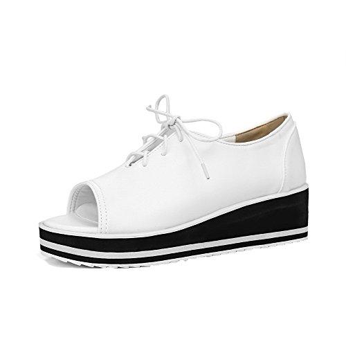 Allhqfashion Womens Open-toe Lace-up Pu Tacco Alto Scarpe-tacchi-scarpe Bianche