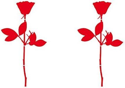 Greenit Rose 10cm Auto Fenster Spiegel Aufkleber Tattoo Die Cut Decals Vinyl Selbstklebende Deko Folie Depeche Mode 2 Stück Rot Auto
