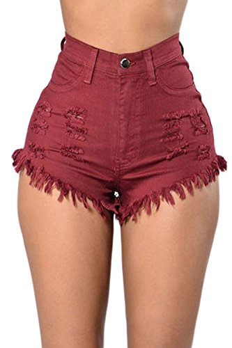 Sevozimda Las Mujeres De Cintura Alta con Flecos Casual Ringered Hot Jeans Denim Shorts Wined