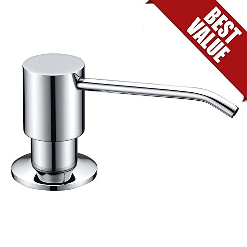 WENKEN Best Brass Deck-Mounted Countertop Kitchen Sink Soap Dispenser with 13-Ounce Capacity, Modern Lotion Dispenser , Chrome - Deck Mounted Kitchen