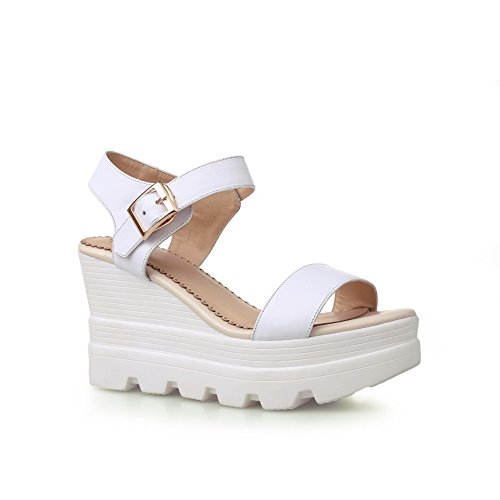 Women's WeenFashion Sandals High Open Buckle Leather White Cow Heels Solid Toe dqZSwrq