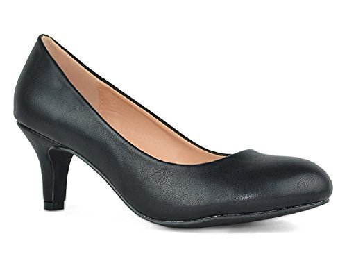 Chase & Chloe Kona-1 Low Heel Round Toe Women's Pump Shoes (9, Black) (Chloe Black Shoes)