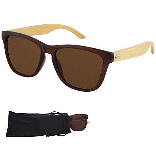 Frogskin Sunglasses - Brown Lenses & Clear Brown Palstic Frame with Bamboo Arms - UV Ray Protected Shades For Men & Women - By Optix - Arm Bamboo Sunglasses