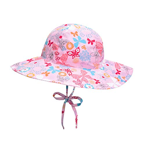 Baby Sun Hat Reversible - Wide Brim Bucket Hat Breathable Quickly Dry Swim Sunhat for Toddler Boy Infant (S: 3-6 Months, Pink Butterfly)