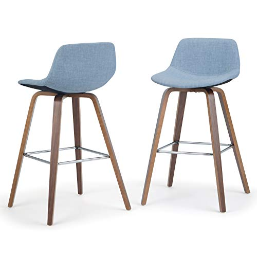 Simpli Home AXCRAN26N-DMB Randolph Mid Century Modern Bentwood Counter Height Stool (Set of 2) in Denim Grey Linen Look Fabric (Linen Grey Stool Counter)