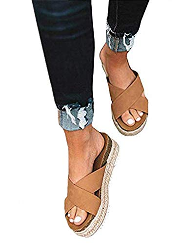 Ymost Womens Espadrilles Wedge Sandals Open Toe Halter Ankle Strap Flatform Wedges Shoes (7.5 B(M) US-EU Size 38, 2Slide-Camel)