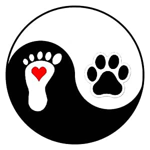 "Paw MAGNET! Pet, Dog & Cat Love, Ying Yang, Heart & Foot Print. Outdoor & CAR SAFE! Tuff Mag. Will not fade. BIG 3.75"" Round"