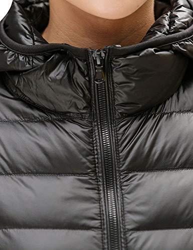Termica Elegantes Ropa Laterales Plumas Manga Casuales Mujer Coat Moda Chaquetas Capucha Capa Black 1 Abrigo Cremallera Acolchado Con Bolsillos Otoño Invierno Larga Unicolor t0A8q0w