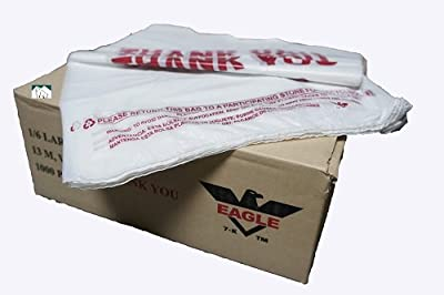 """1000ct Large T-shirts Carry-out Thank You Bags 11.5"""" X 6.25"""" X 21"""" 13micron .51mil Plastic Grocery Thank You by Eagle Plastic"""