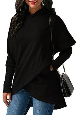 Sunfury Womens Long Sleeve Asymmetric Hem Wrapped Hoodie Jacket Coat Pullover Sweatshirt