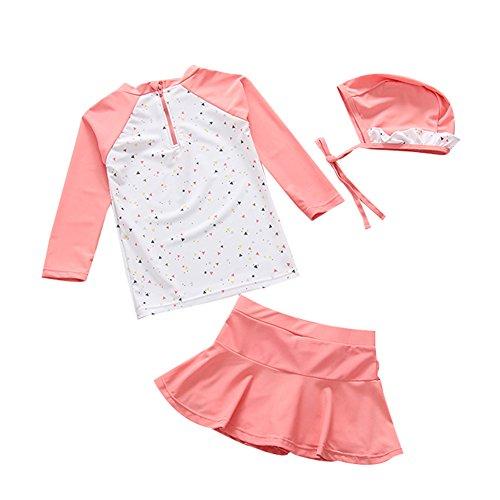 7c22503d96 TAIYCYXGAN UV Sun Protective Baby Girls 2pc Swimsuit Long Sleeve Rash  Guards Bathing Suit Ruffle Swimdress