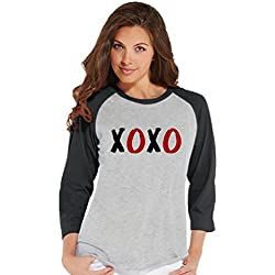 Custom Party Shop Women's XOXO Valentine's Day Raglan Shirt Medium Grey