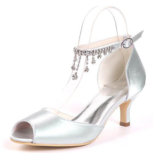 Stiletto Platform Chaussures Silver Satin Femmes yc L Peep Toe Mariage Strass Shoes De court gTwvFBq