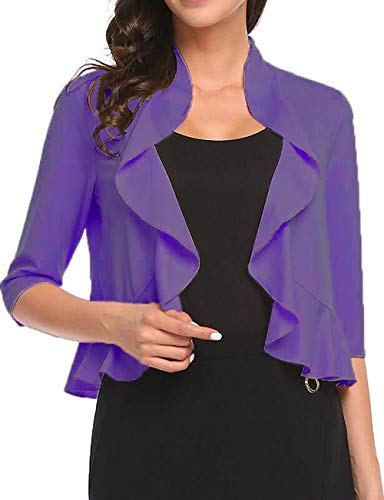 - Women's Open Front Cropped Cardigan 3/4 Sleeve Casual Shrugs Jacket Draped Ruffles Lightweight Sweaters (Purple, X-Large)