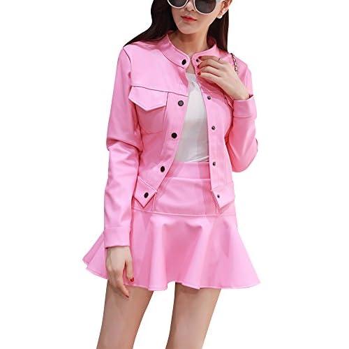 f285fb30bc Mujer PU Cuero Manga Larga Chaqueta Top + Mini Falda 2 Piezas Set Outwear  delicate