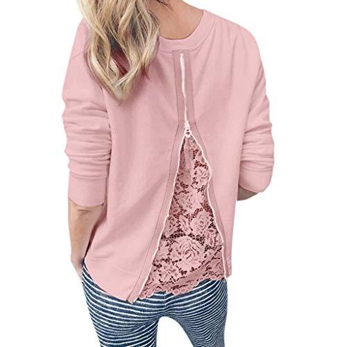 ANJUNIE Womens O-Neck Long Sleeve Shirt Back Lace Patchwork Sweatshirt Top Pullover(Pink,XXXXXL)