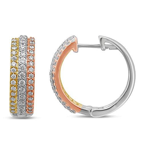 Diamond Jewel 10K Tri Color Gold 1/2 CT TW Diamond Huggy Hoop Earrings (Tri Diamond Color Gold)