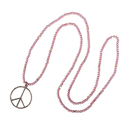KELITCH Peace Sign Necklace for Women Hand Knotted Crystal Beaded Pendant Necklace