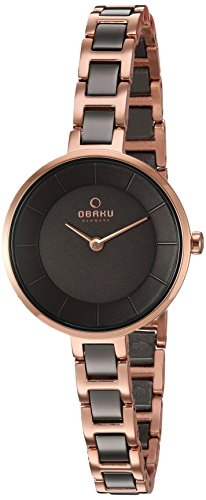 Obaku Women's Quartz Stainless Steel Dress Watch, Color:Two Tone (Model: V183LXVNSV)