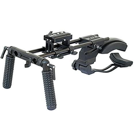 PROAIM DSLR A23 Shoulder Mount Stabilizer Rig System with Chest Support + Mini 15mm Rail System for follow focus matte box | FREE Wire Organizer Clamp (P-A23) <span at amazon