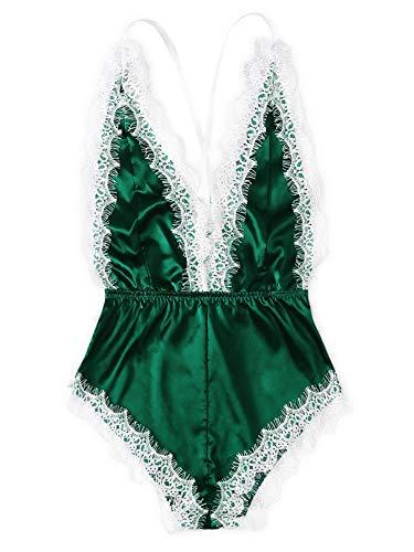 Bodysuit Trim Lace - SOLY HUX Women's Sexy Deep V Neck Criss Cross Lace Trim Romper Bodysuit Green XL