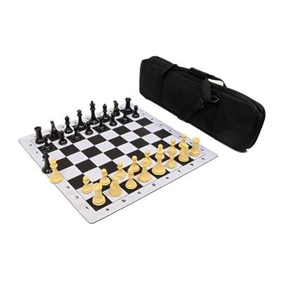 Premier Tournament Chess Set Combo with Natural Pieces - Black