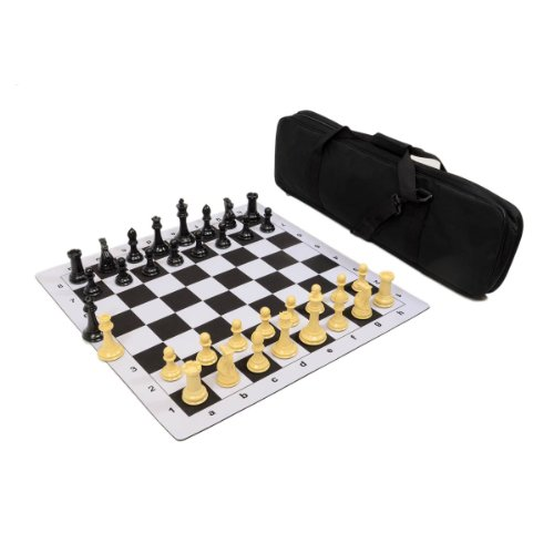 - Premier Tournament Chess Set Combo with Natural Pieces - Black