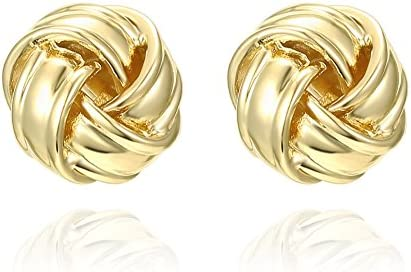 PAVOI 14K Gold Plated Sterling Silver Post Love Knot Stud Earrings | Gold Earrings for Women