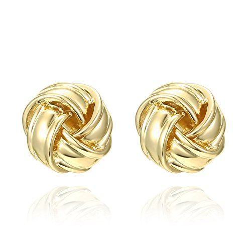 PAVOI 14K Yellow Gold Plated Sterling Silver Post Love Knot Stud Earrings | Gold Earrings for - Love 14k Knot Gold Ring