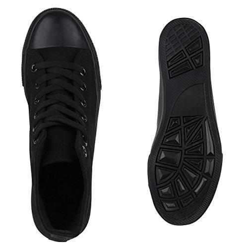 Damen Herren Unisex Sneaker High Schnürer Denim Sneakers Camouflage Sportschuhe Turnschuhe Glitzer Stoff Schuhe Übergrößen Flandell Schwarz Schwarz Brito