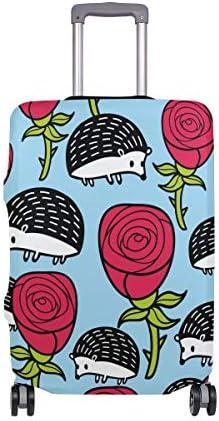 (ソレソレ)スーツケースカバー 防水 伸縮素材 キャリーカバー ラゲッジカバー ハリネズミ 花柄 可愛い かわいい アニマル 可愛い おしゃれ 防塵 旅行 出張 便利 S M L XLサイズ
