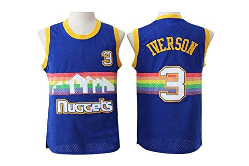 Mens Denver Nuggets #3 Allen Iverson Retro Embroidery Basketball Jersey (Denver Nuggets Basketball)
